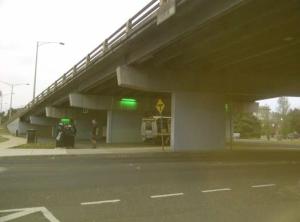 Under the Graham Street Bridge.  Changing colours depending on the season